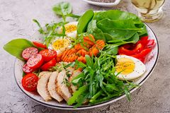 Cherry tomatoes, chicken breast, eggs, carrot, salad with arugula stock photo