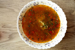 Plate with kharcho soup Royalty Free Stock Images
