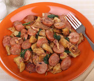 Plate of Kielbasa and Potatoes Royalty Free Stock Photos