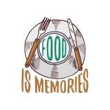 Plate or kitchen utensils, cooking stuff for menu decoration. baking logo emblem or label, engraved hand drawn in old Stock Images