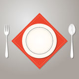 Plate knife and fork on еру red cloth. Vector illustration in Royalty Free Stock Photo