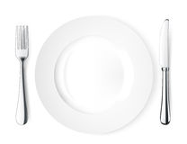 Plate knife and fork. Royalty Free Stock Photo