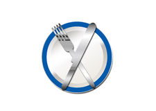 Plate knife and fork 2 Stock Photos