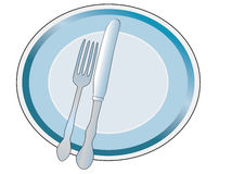 Plate with knife and fork Royalty Free Stock Photos