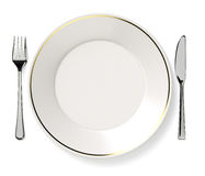 Plate, knife and fork. Royalty Free Stock Image