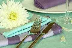 Plate, knife, fork and flower. Royalty Free Stock Images