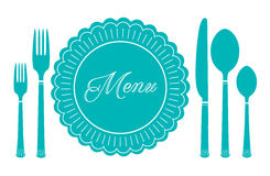 Plate knife and fork icon. Menu sign. Plate knife and fork icon - vector illustration isolated on white. Menu sign Royalty Free Stock Photo