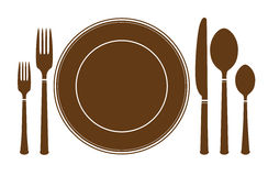 Plate knife and fork icon. Vector illustration isolated on white Royalty Free Stock Image