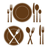 Plate knife and fork icon Stock Photography
