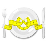 Plate with knife, fork and measure tape Stock Photos