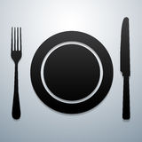 Plate knife and fork. Outline kitchen tool Stock Photography