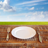 Plate with knife and fork over green meadow Stock Image