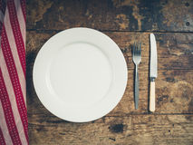 Plate with knife and fork Royalty Free Stock Images