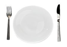 Plate with  knife and fork Royalty Free Stock Image