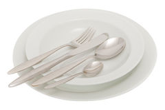 Plate with knife, fork and spoon Royalty Free Stock Photo