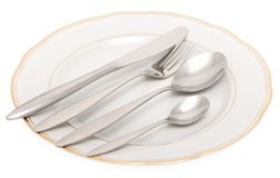 Plate with knife, fork and spoon Stock Photo