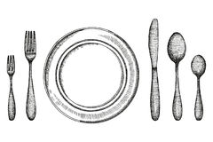 Plate knife fork and spoon and a plate sketch. Cutlery set Vintage vector illustration.  vector illustration