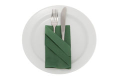 Plate with knife, fork and table napkin Stock Photography