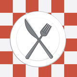 Plate Knife Fork Tablecloth Stock Photo