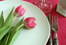 Plate, knife, fork and tulips Stock Photos