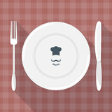 Plate, knife and fork vector. Stock Photography