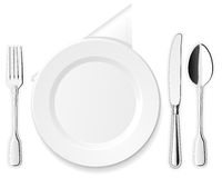Plate, knife, spoon and fork Stock Photography