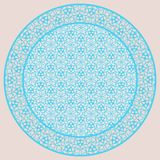Plate lacy round ornament, background, invitation, greeting card. Blue tray, a round geometric ornament for tea or coffee porcelain plate,trays, dishes and Stock Photography
