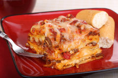 Plate of Lasagna Stock Photos