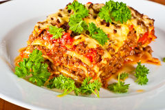 Plate with lasagne Stock Photo