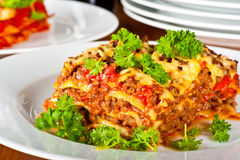 Plate with lasagne Royalty Free Stock Photography