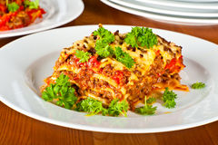 Plate with lasagne Royalty Free Stock Photos