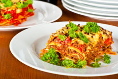 Plate with lasagne Stock Photography