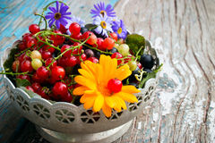 A plate of leaves and berries of black and red currant with a flower on a wooden Royalty Free Stock Photos
