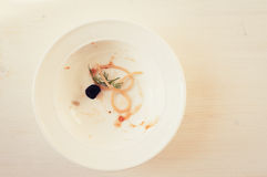 Plate with leftovers Royalty Free Stock Images