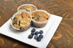 Plate of lemon blueberry muffins. Royalty Free Stock Images