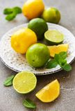 Plate with lemons and limes. On concrete background stock photos
