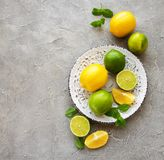 Plate with lemons and limes. On concrete background stock image