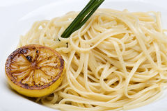 Plate of linguine topped with a butter sauce Stock Photography