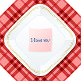 Plate love. Plate with love note. Vector illustration Royalty Free Stock Photography