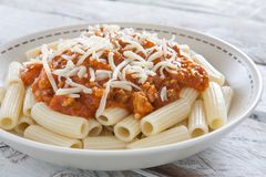 Plate of macaroni with bolognese sauce Royalty Free Stock Images