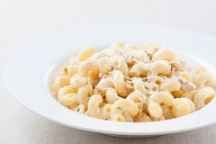 Plate of macaroni with cheese sauce Royalty Free Stock Photos