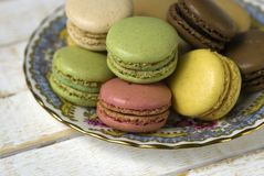 Plate of macaroons Royalty Free Stock Photos