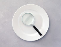 Plate with magnifying glass Royalty Free Stock Image