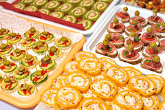 Plate of many mini size sandwich appetizers Royalty Free Stock Images