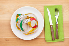 Plate with measure tape, knife and fork. Diet food Royalty Free Stock Photography