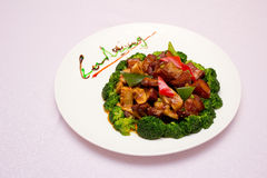 a plate of meat and bamboo shoots Royalty Free Stock Photography