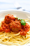 Plate of meatball spaghetti Stock Photos