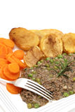 Plate of mince and peas carrots potatoes vertical Royalty Free Stock Images