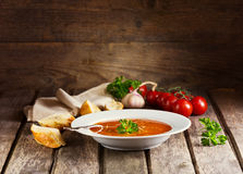 Plate of Minestrone Soup Stock Photo