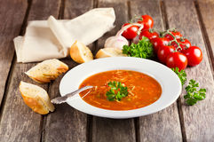 Plate of Minestrone Soup. On wooden background Stock Photography